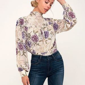 Cream Floral Print Long Sleeve Top